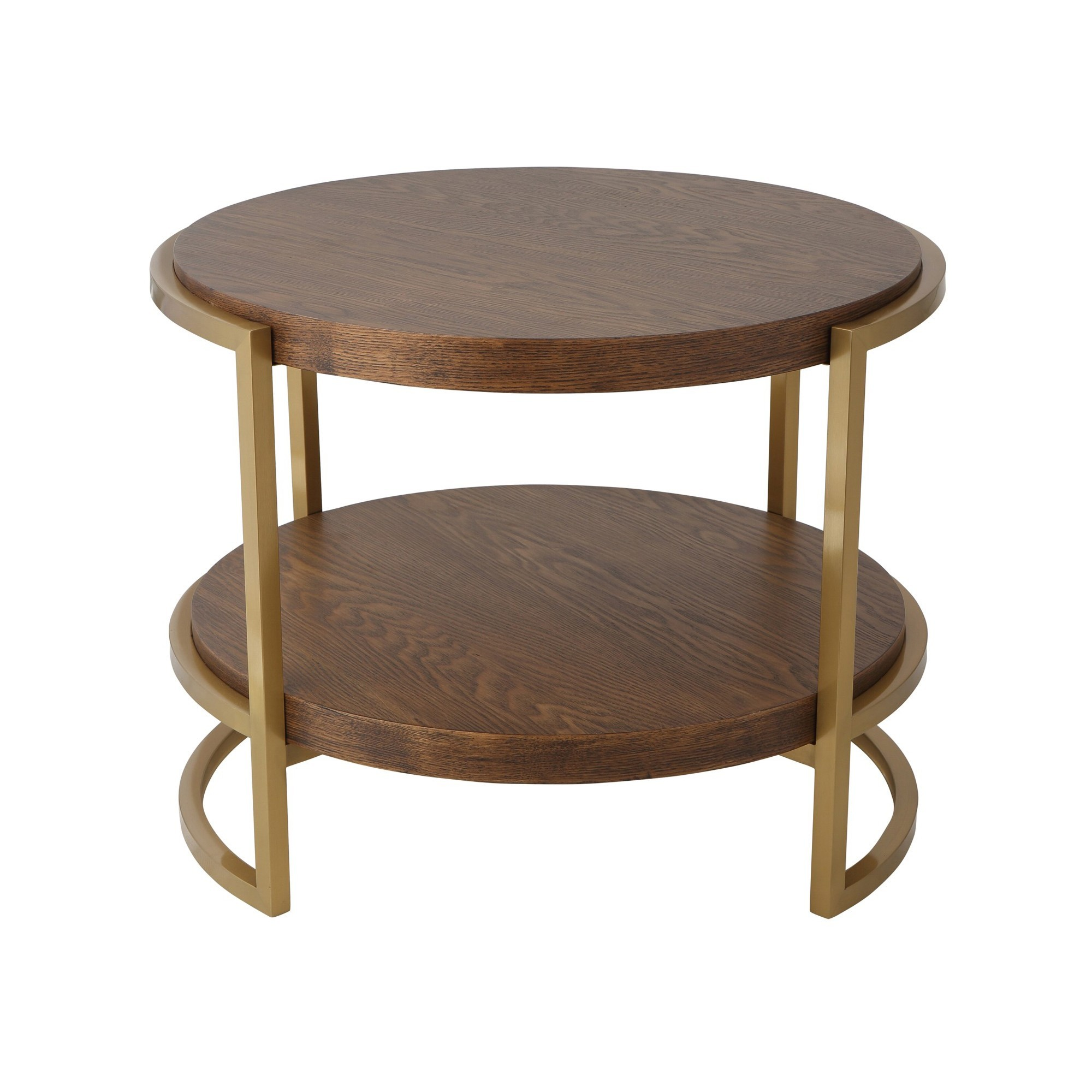 Mylie Wood & Stainless Steel Round Side Table