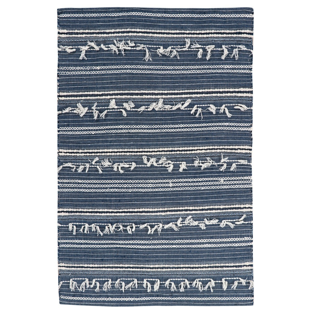 Noir Handwoven Wool Rug, 230x160cm, Denim