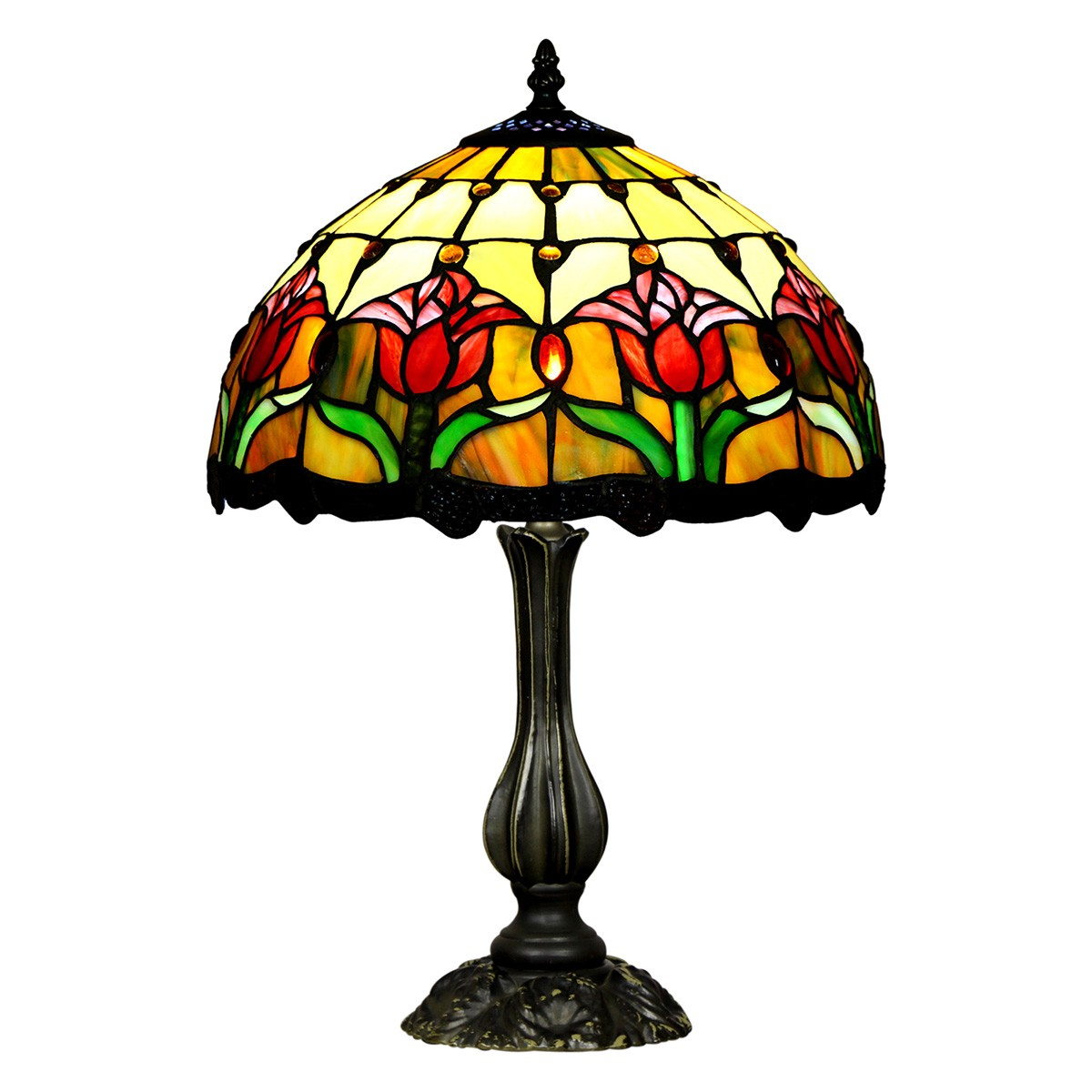 Rena Tiffany Stained Glass Table Lamp, Small