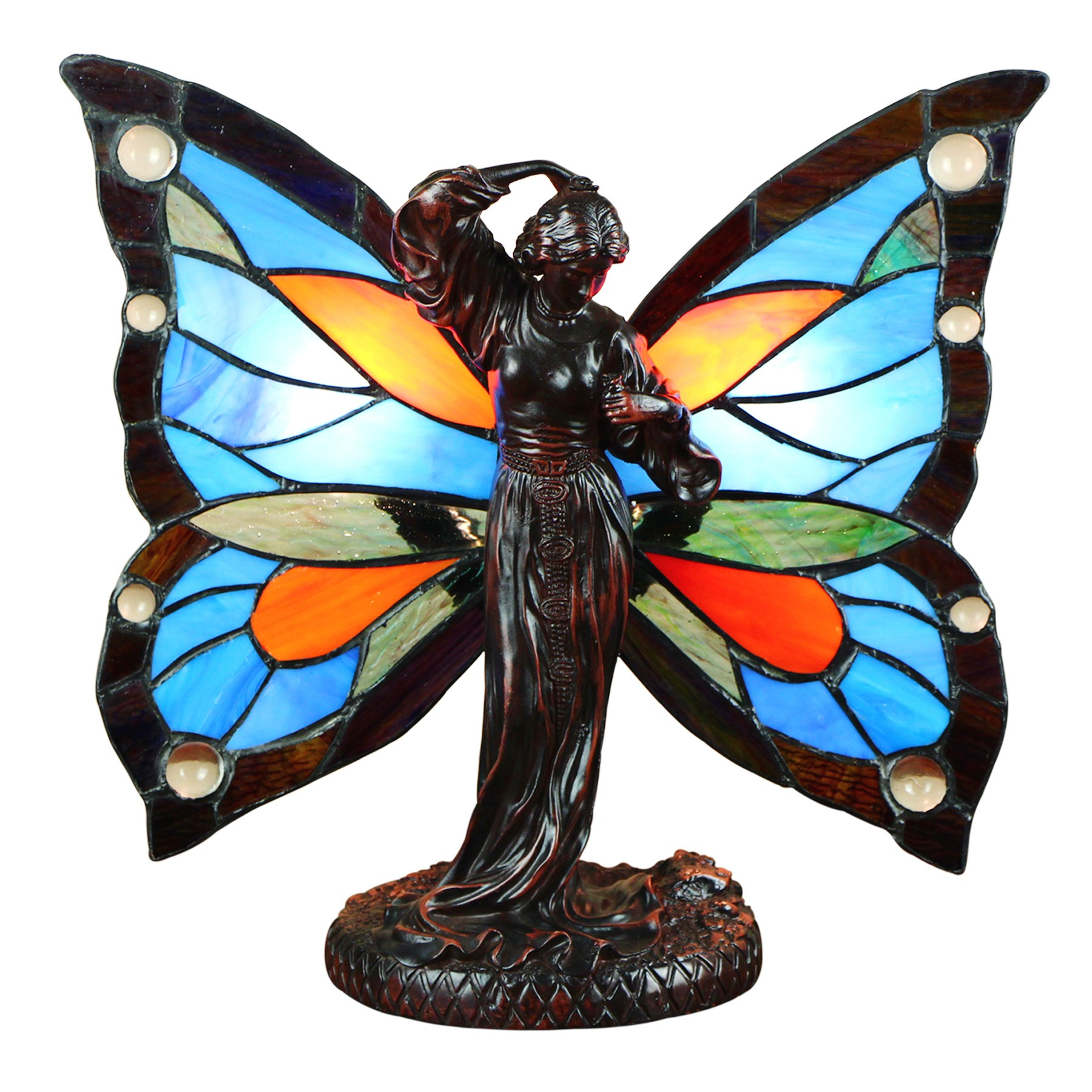 Lorah Tiffany Stained Glass Butterfly Fairy Accent Table Lamp