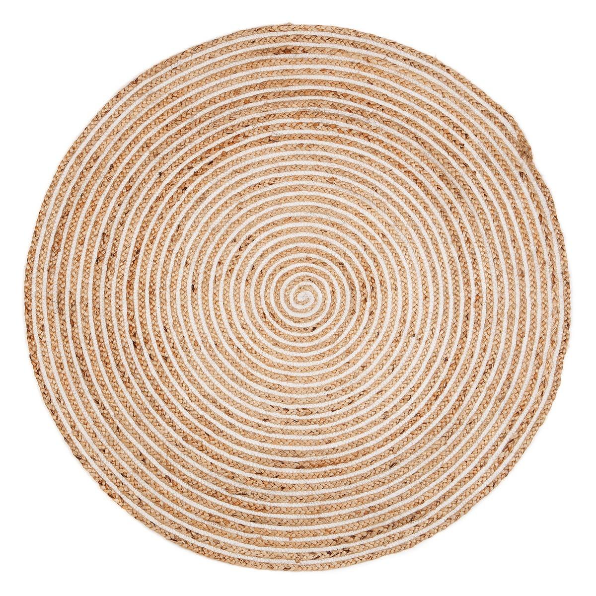 Plumeria Hand Braided Jute Round Rug, 120cm