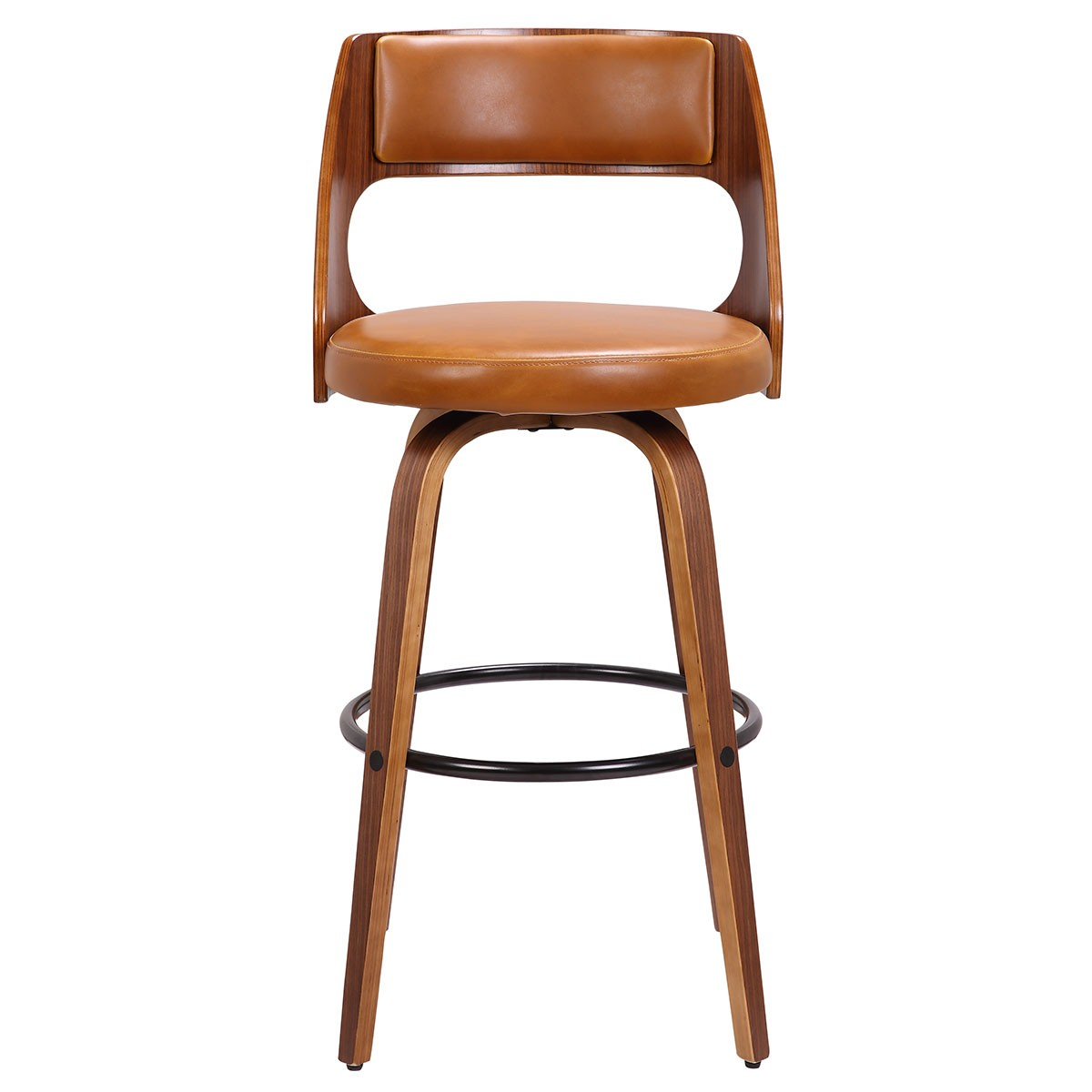 Set of 2 Oslo Commercial Grade Bentwood Bar Chairs with Faux Leather Swivel Seat, Tan / Walnut