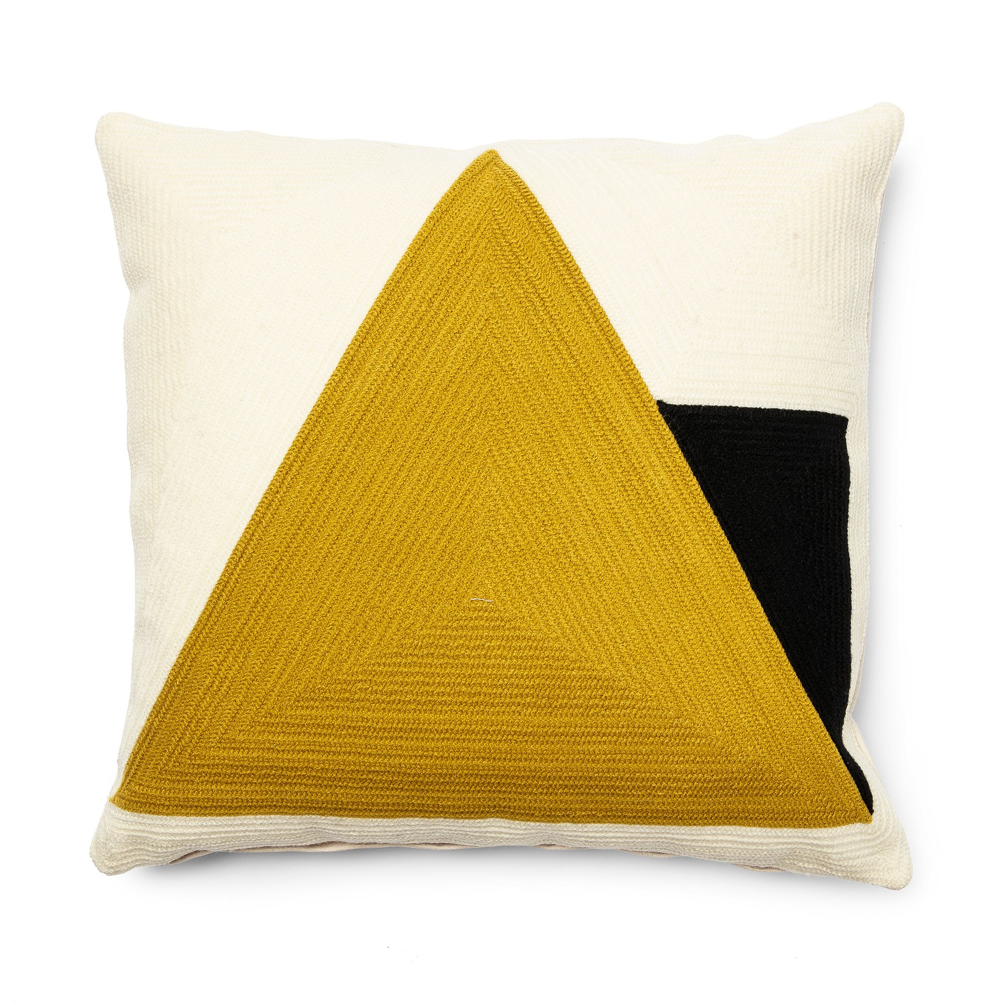Cocoon Fabric Scatter Cushion, Big Yellow Triangle
