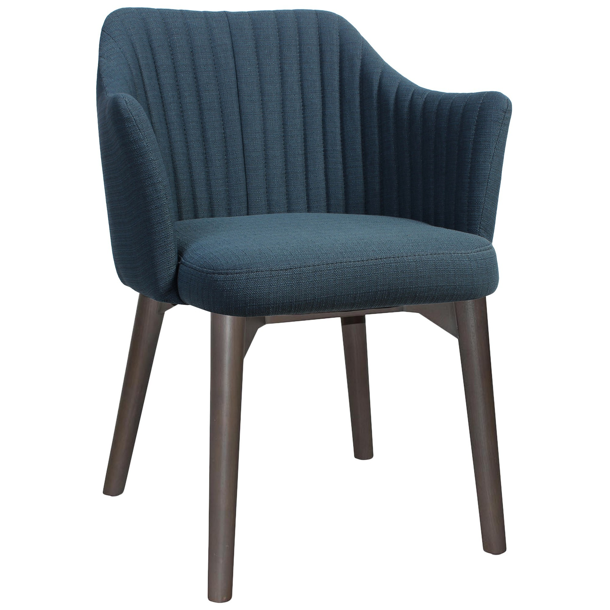 Coogee Commercial Grade Fabric Dining Armchair, Timber Leg, Blue / Olive Grey