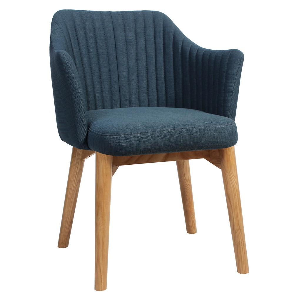 Coogee Commercial Grade Fabric Dining Armchair, Timber Leg, Blue / Light Oak