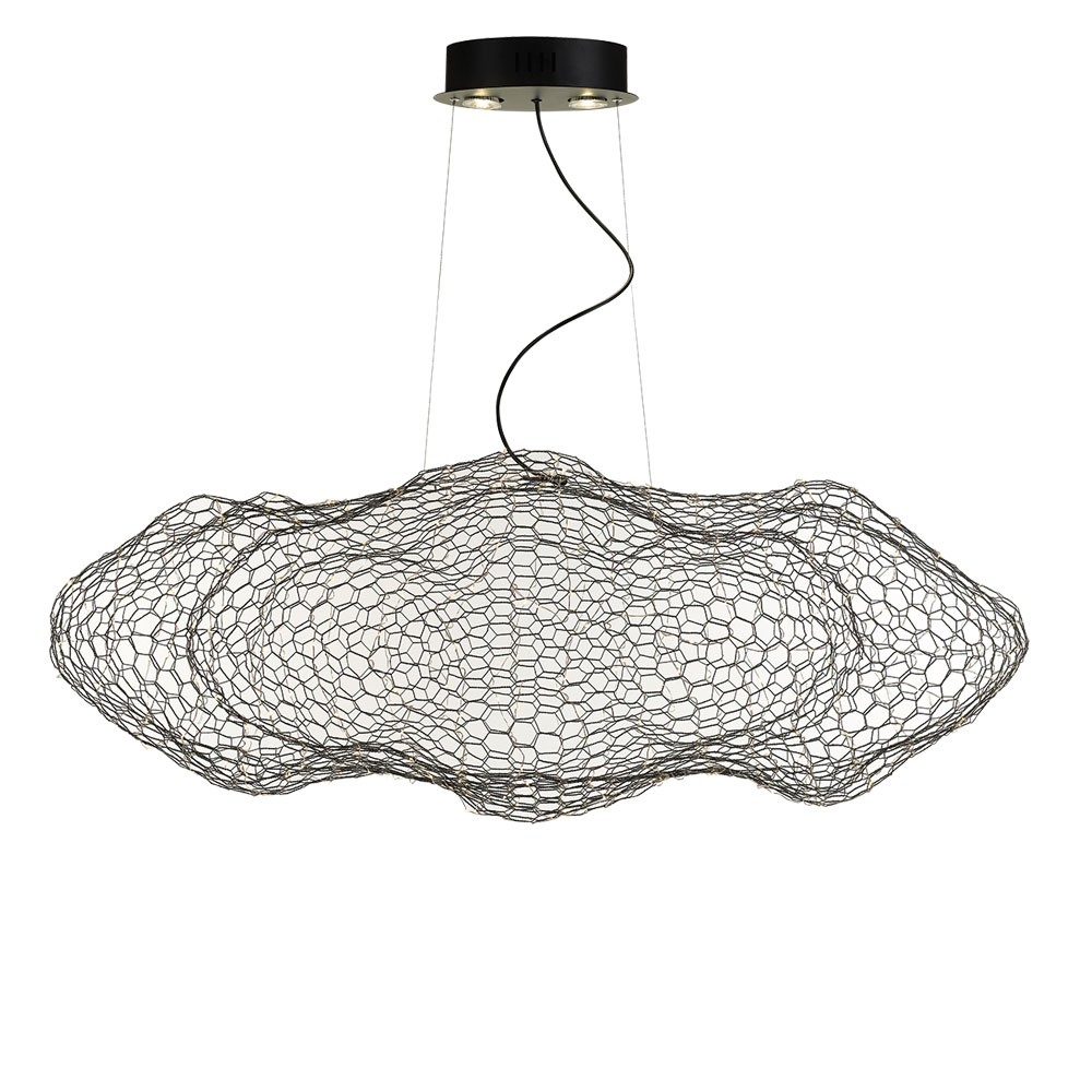 Kasha Metal Mesh Cloud Pendant Light, Black