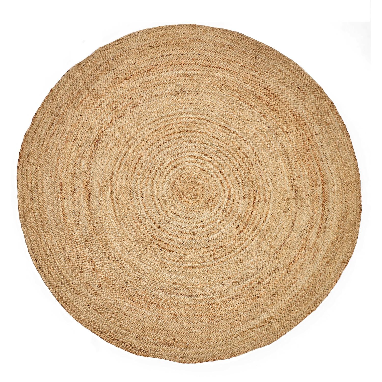 Kaza Handwoven Round Jute Rug, 150cm, Natural