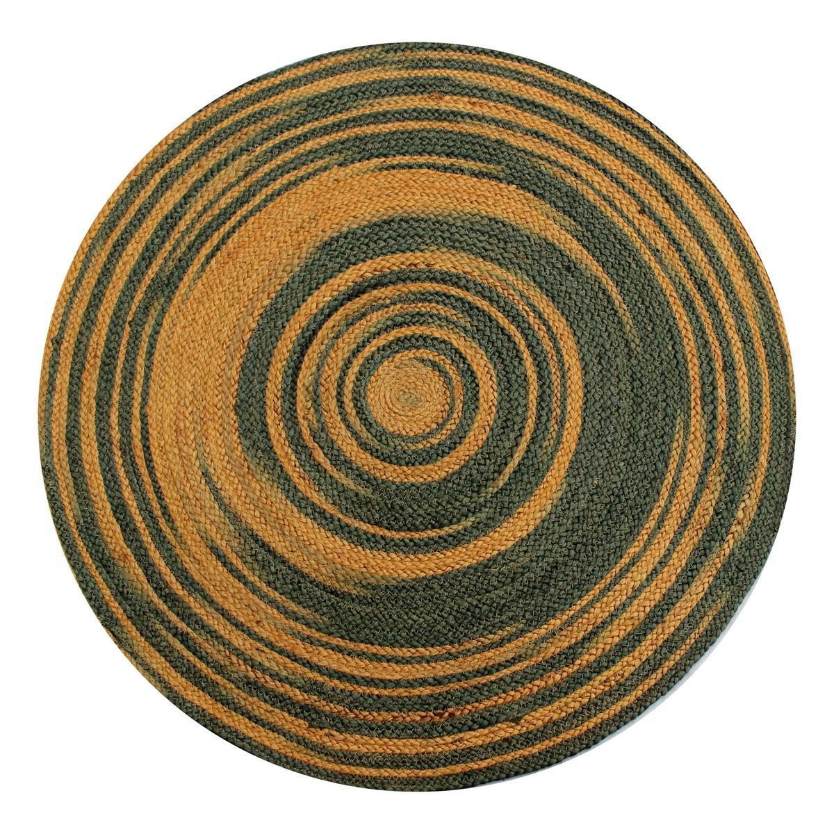 Kerla Spiral Handwoven Round Jute Rug, 100cm, Grey / Gold