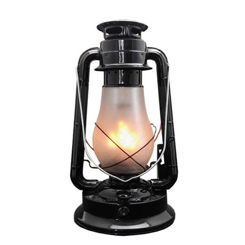 Replica Kerosin Iron & Glass Rechargeable LED Table Lamp, Black
