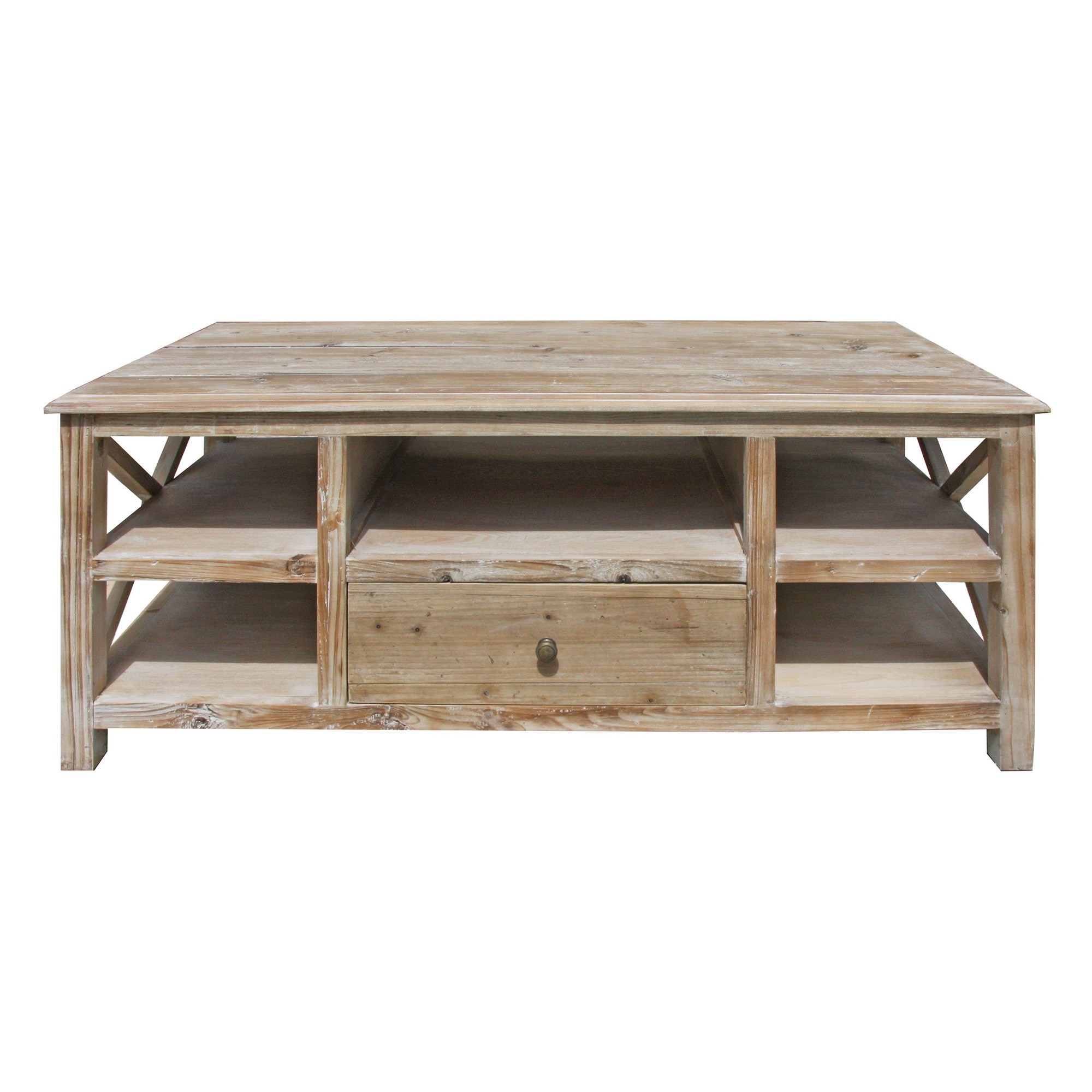 Yukon Recycled Fir Timber Coffee Table, 123cm