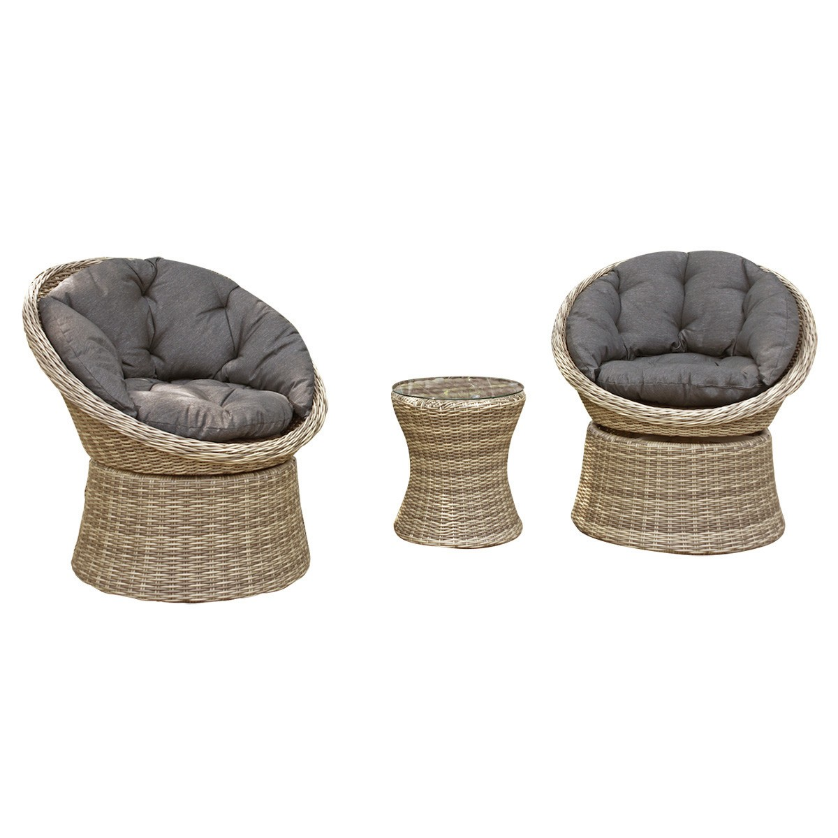 Como 3 Piece Wicker Outdoor Swivel Lounge Set, Charcoal Cushion
