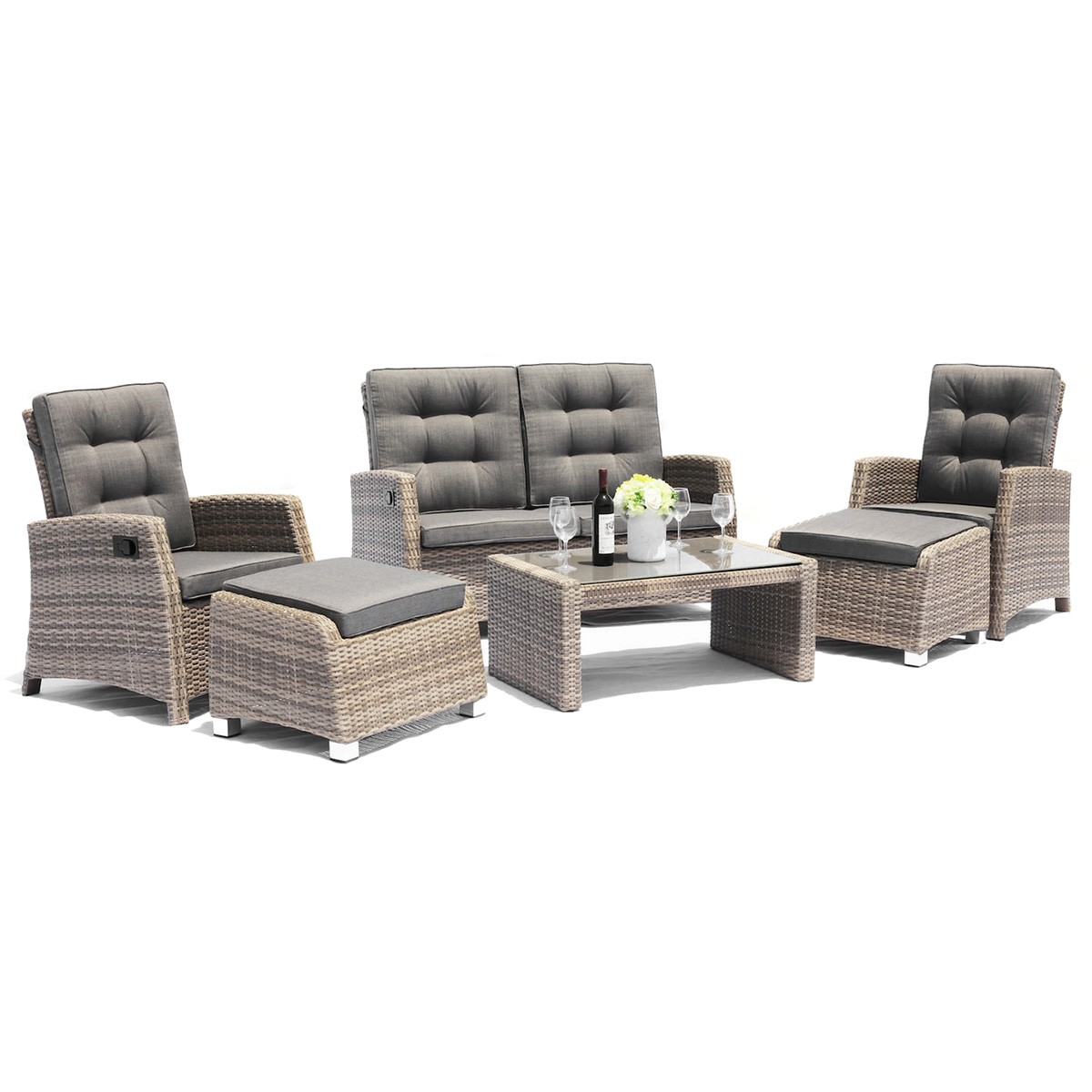 Positano 6 Piece Outdoor Wicker Recliner Lounge Set, Light Brown