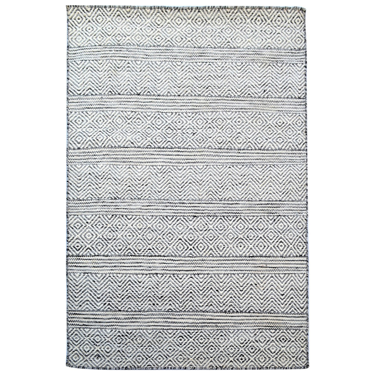 Khadi 1099 Handwoven Wool & Sari Silk Rug, 190x280cm, White / Black