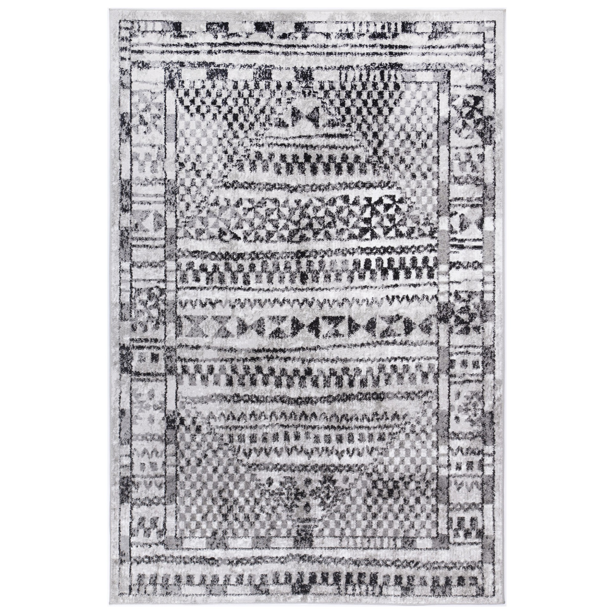 Kimberley Aztec Modern Rug, 330x240cm, Charcoal