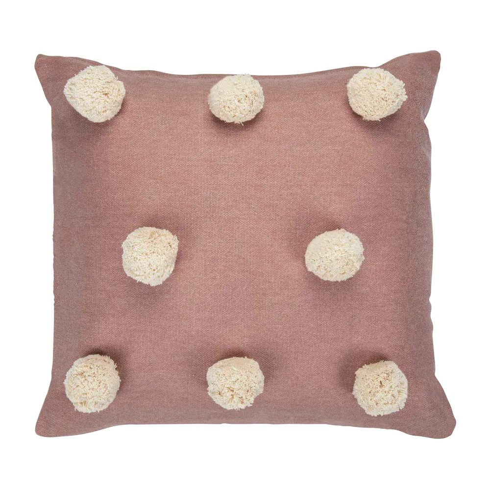 Pom Pom Chambray Cotton Scatter Cushion, Blush