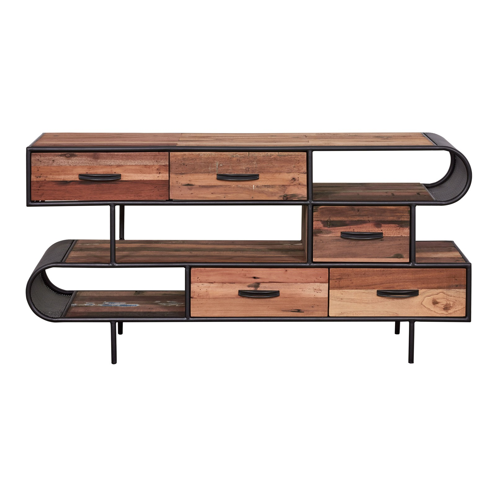 Aru Commercial Grade Industrial Recycled Timber & Iron Multi Drawer Sideboard, 160cm