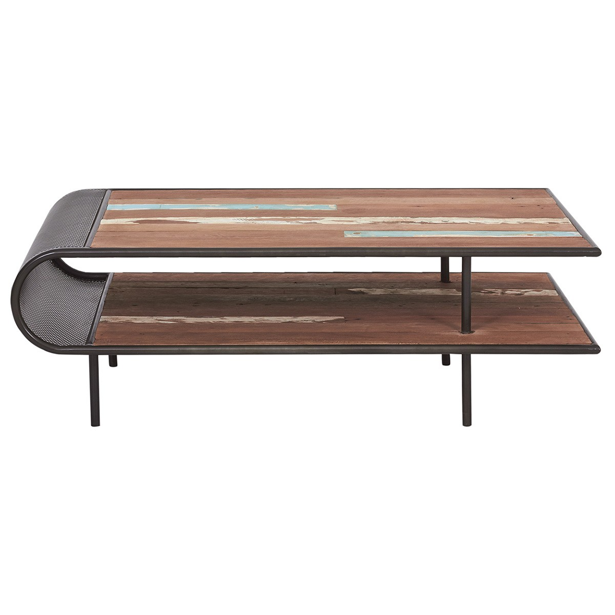 Aru Commercial Grade Industrial Recycled Timber & Iron Curve Coffee Table, 120cm