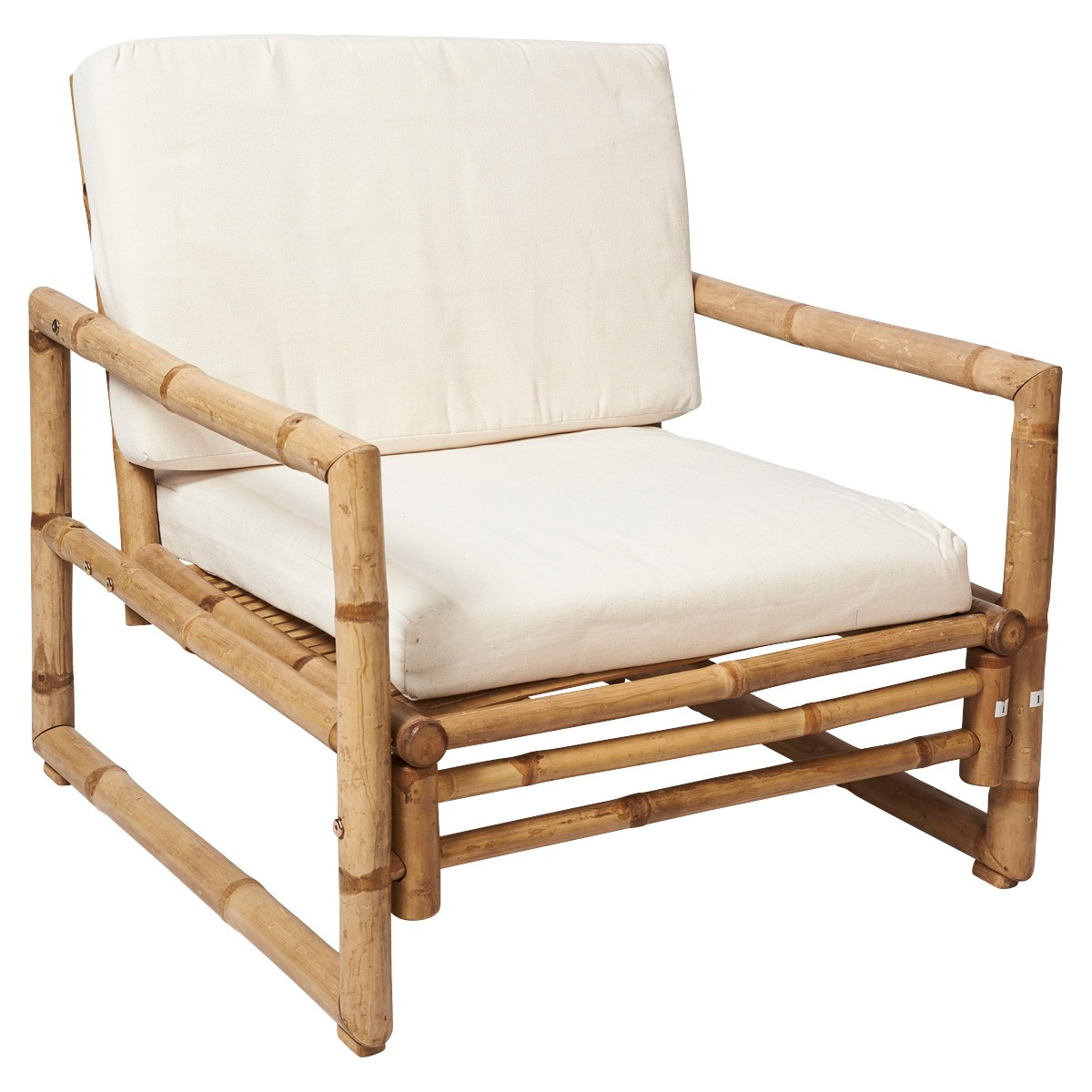 Allison Bamboo Lounge Armchair with Cushions
