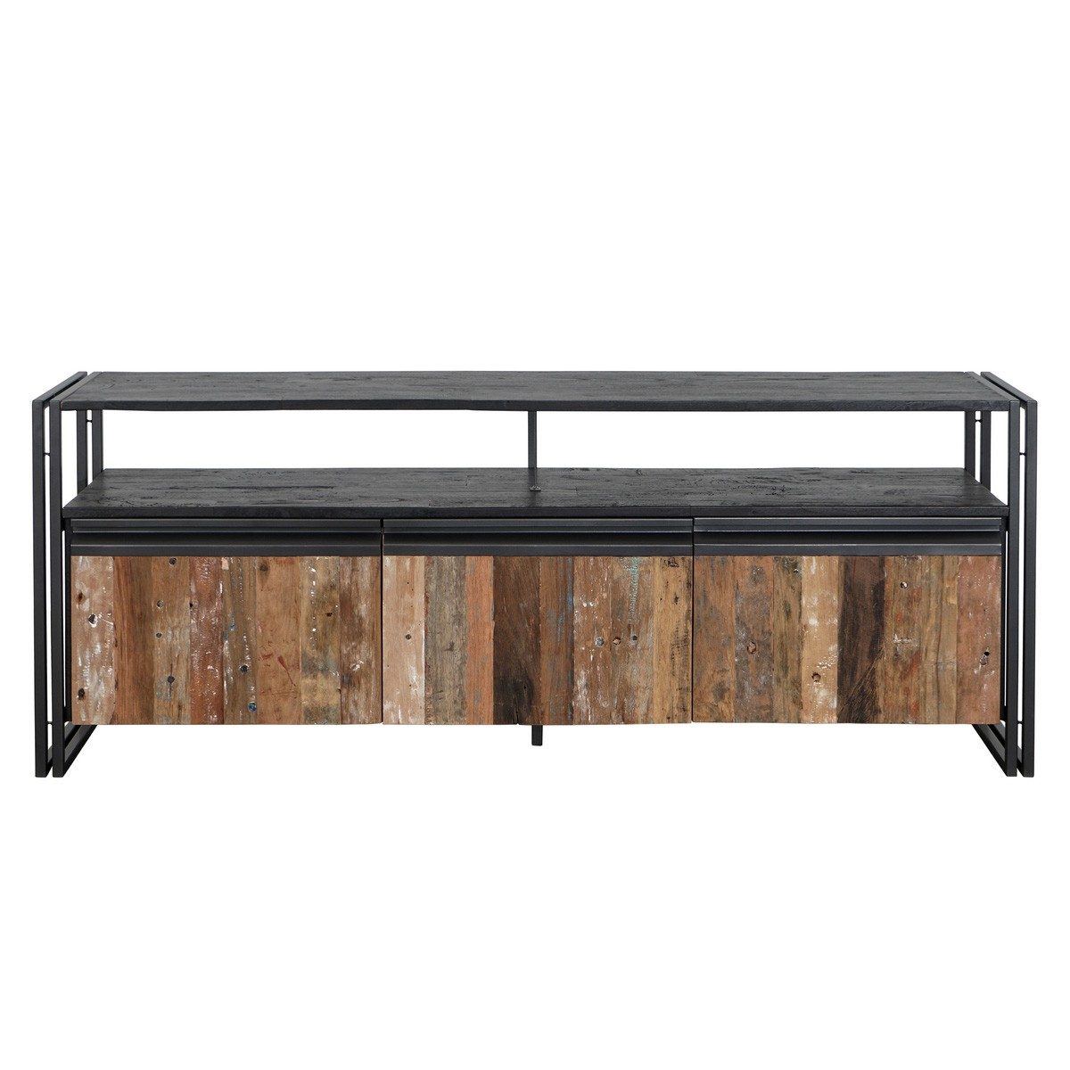 New Age Reclaimed Timber & Metal Industrial 3 Door Hight TV Stand,180cm