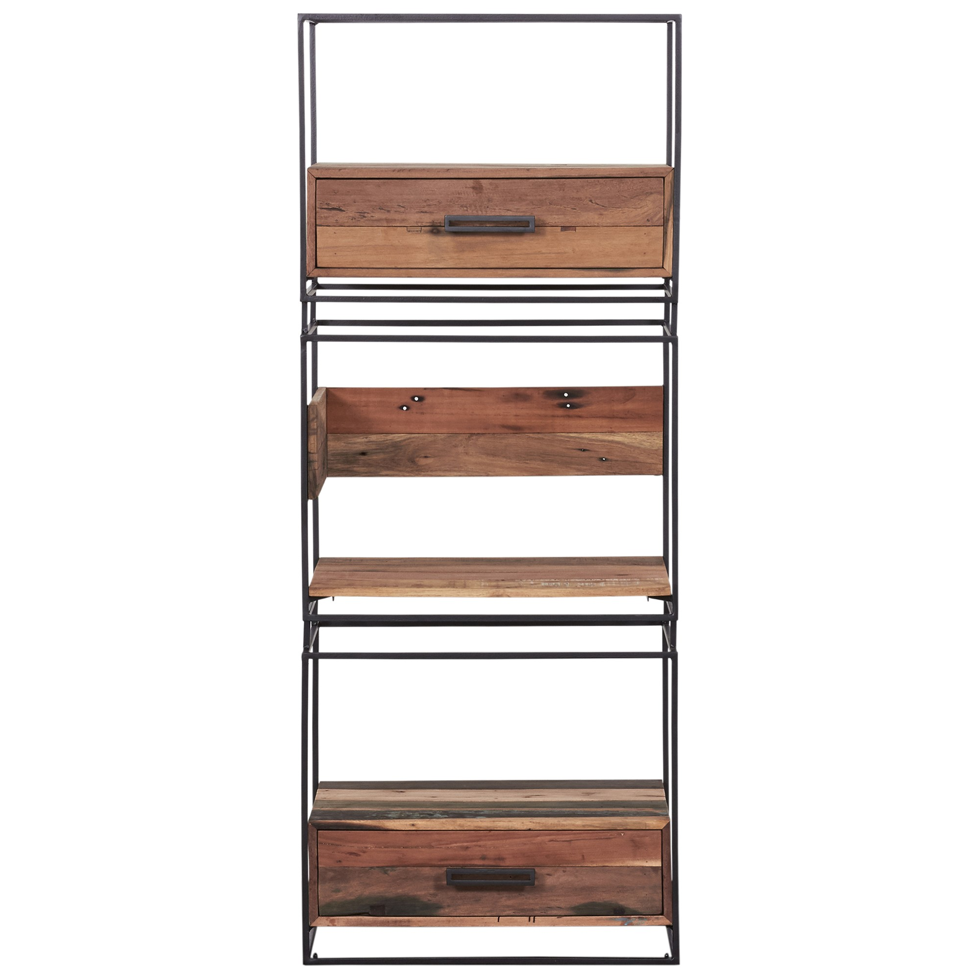 Nako Commercial Grade Reclaimed Timber & Iron Display Shelf with Drawers