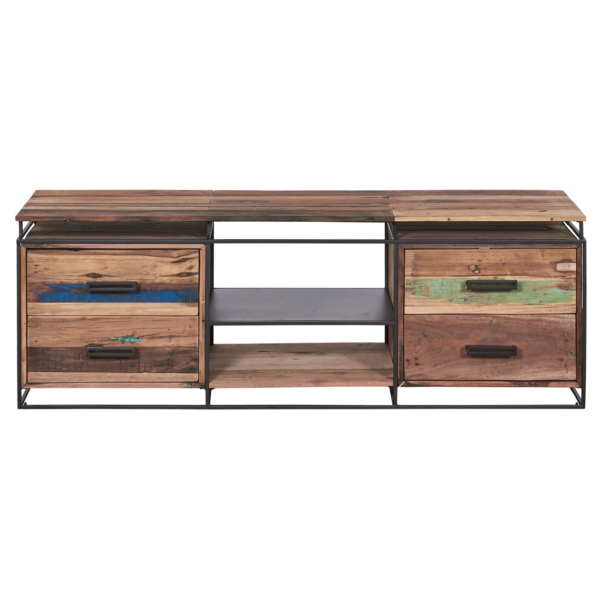 Nako Commercial Grade Reclaimed Timber & Iron 4 Drawer TV Unit, 160cm