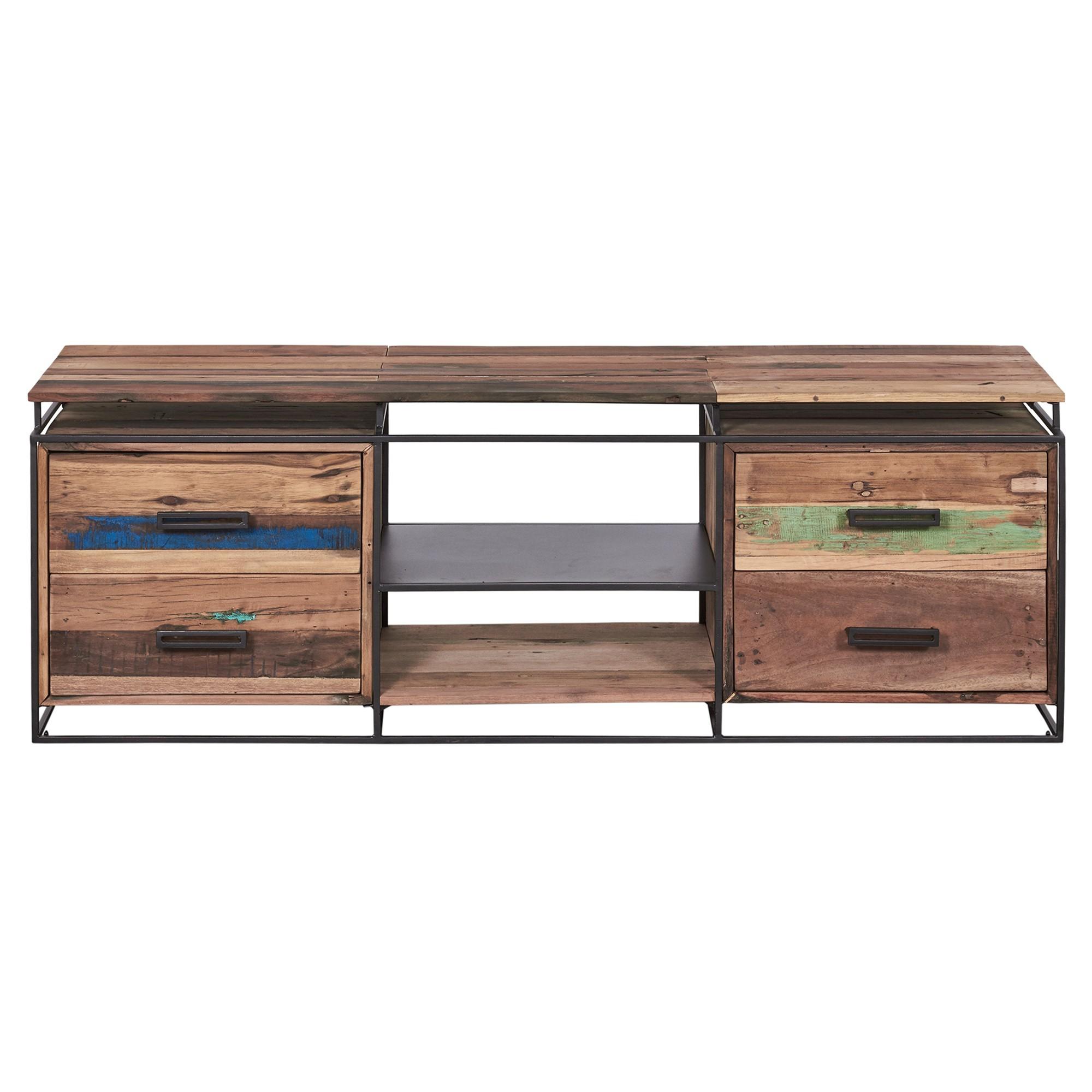 Nako Commercial Grade Reclaimed Timber & Iron 4 Drawer TV Unit, 160cm