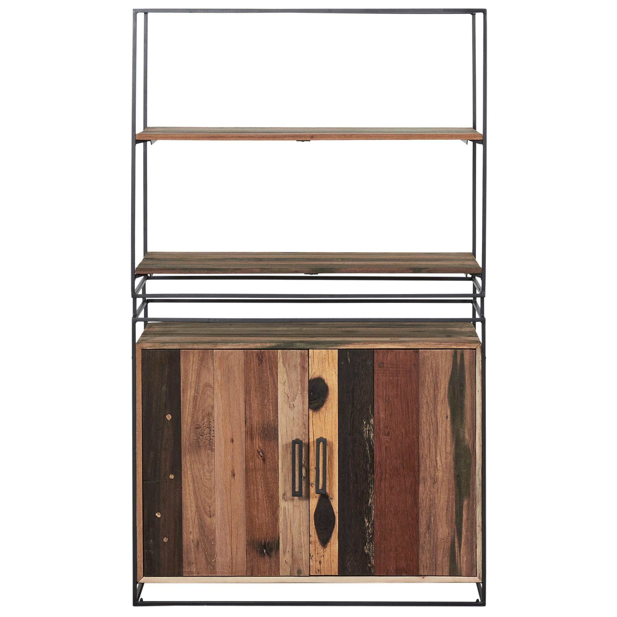 Nako Commercial Grade Reclaimed Timber & Iron 2 Door Side Cabinet with Shelf