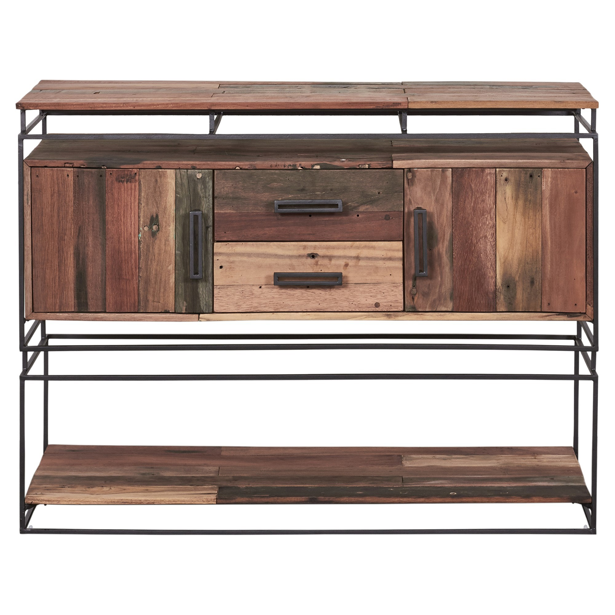 Nako Commercial Grade Reclaimed Timber & Iron 2 Door 2 Drawer Console Table, 120cm