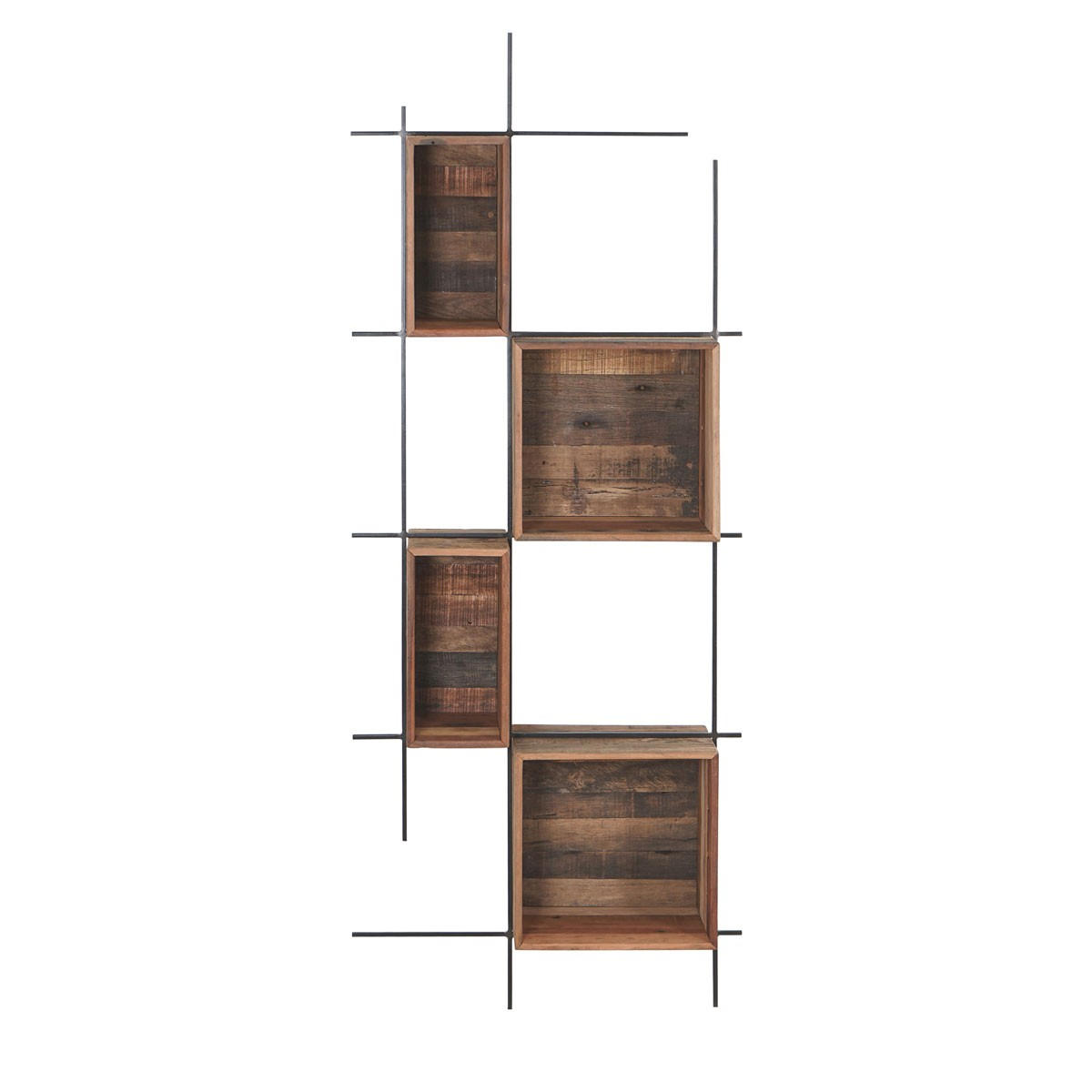 Sublime Commercial Grade Recycled Timber & Iron Wall Shelf, Large