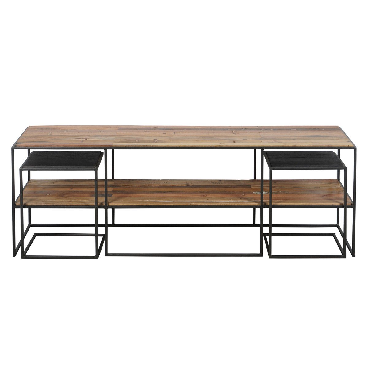 Sublime Commercial Grade Recycled Timber & Steel 3 Piece TV Unit & Side Table Set, 160cm
