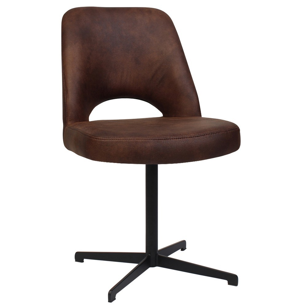 Albury Commercial Grade Fabric Dining Chair, Metal Blade Leg, Bison / Black