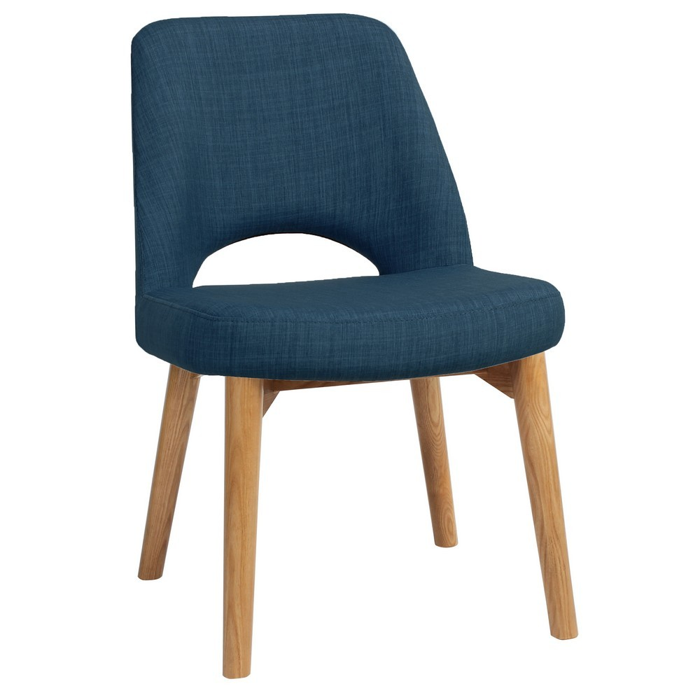 Albury Commercial Grade Fabric Dining Chair, Timber Leg, Blue / Light Oak