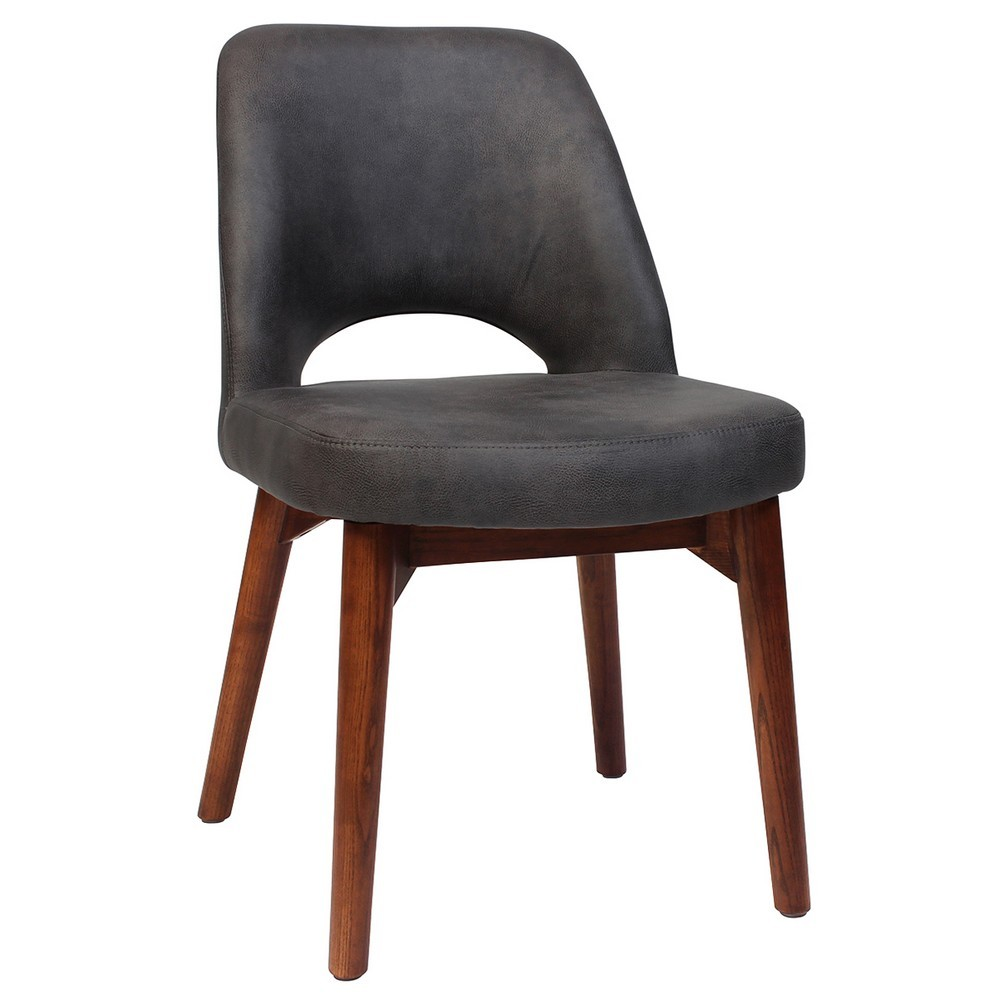 Albury Commercial Grade Fabric Dining Chair, Timber Leg, Slate / Light Walnut