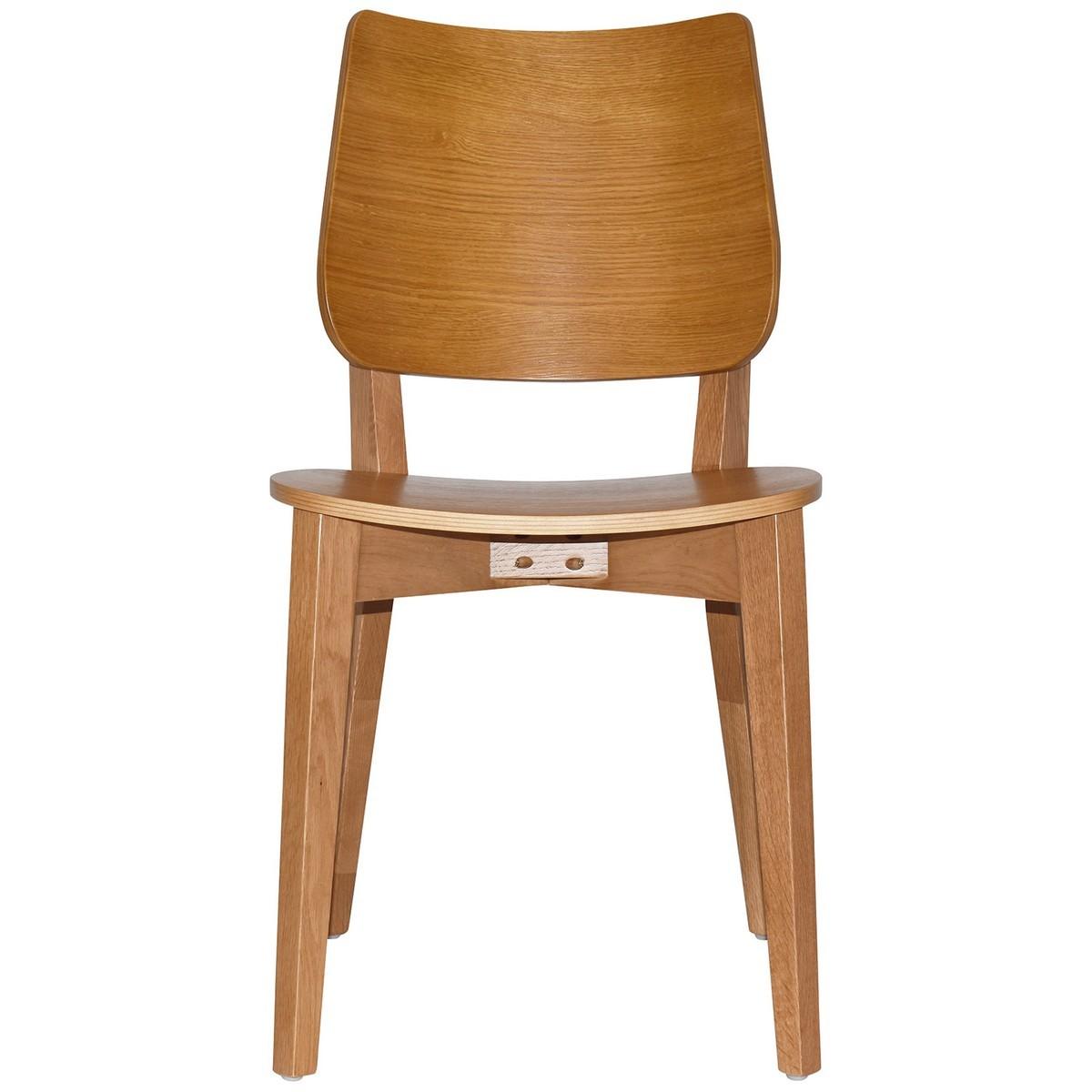 Dakota Commercial Grade Oak Timber Dining Chair, Timber Seat, Light Oak