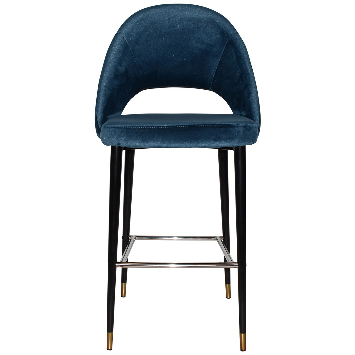 Chevron Commercial Grade Fabric Bar Stool, Metal Leg, Velvet Blue / Black Brass