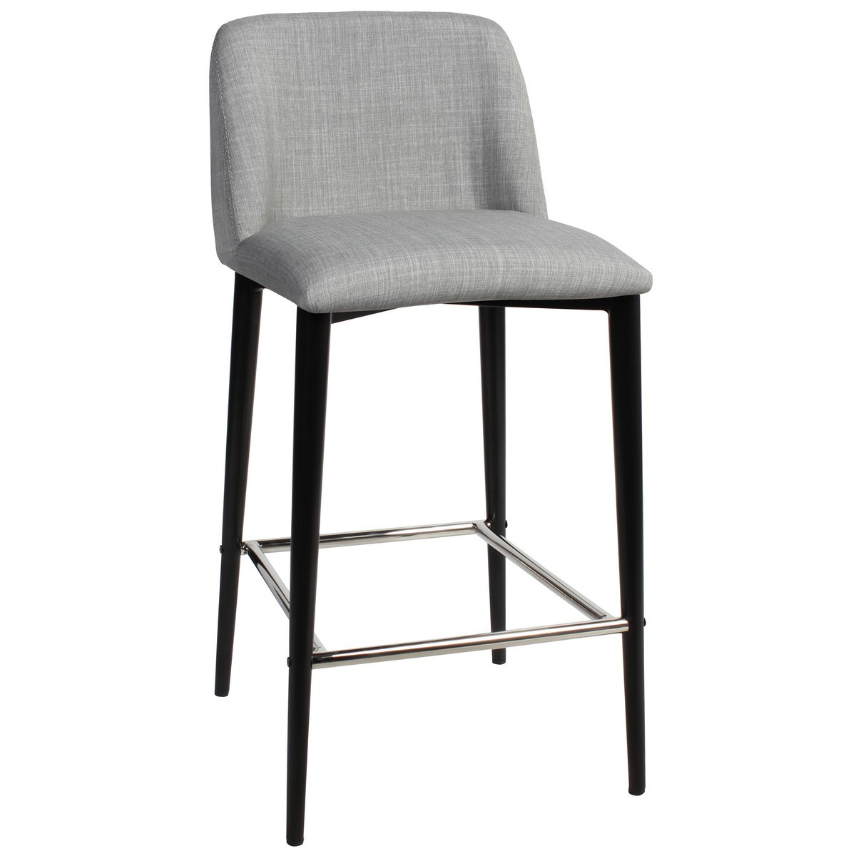 Clovelly Commercial Grade Fabric Counter Stool, Metal Leg, Light Grey / Black