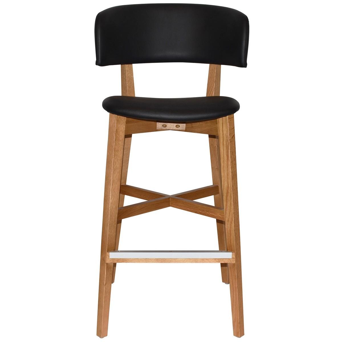 Torino Commercial Grade Oak Timber Bar Stool, Vinyl Seat & Back, Black / Light Oak