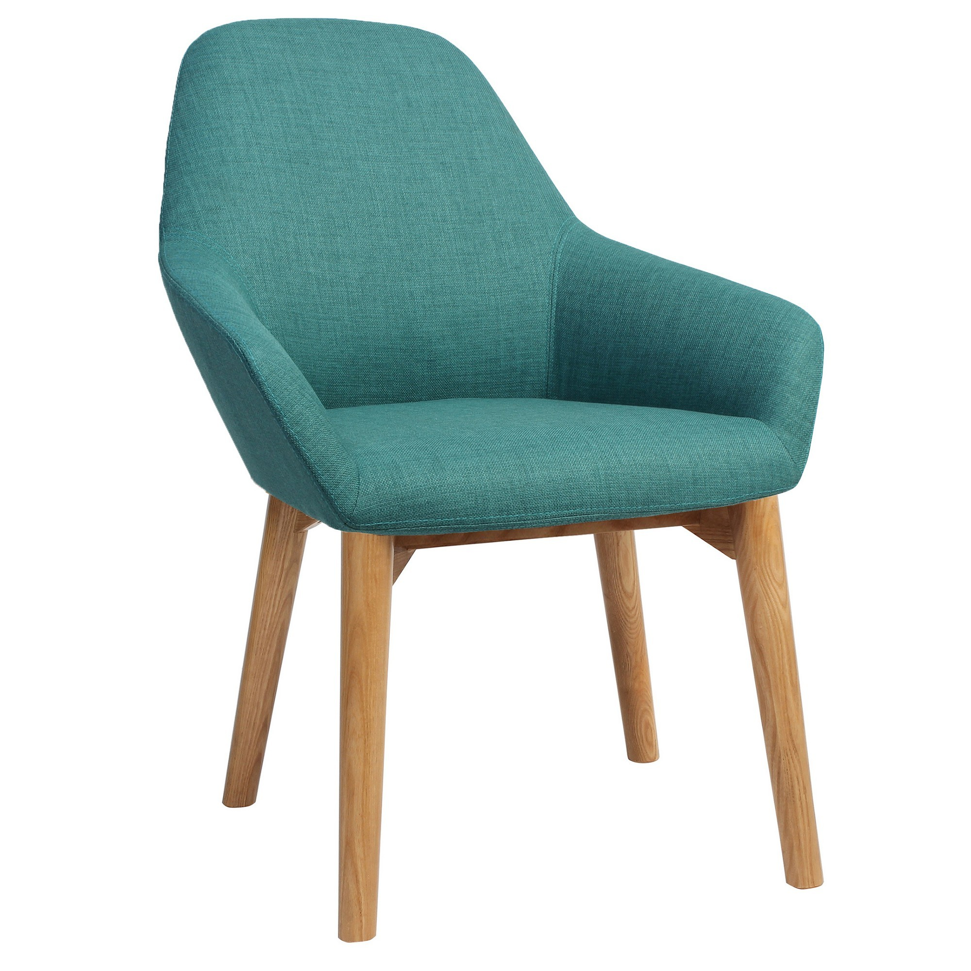 Bronte Commercial Grade Fabric Dining Armchair, Timber Leg, Teal / Light Oak