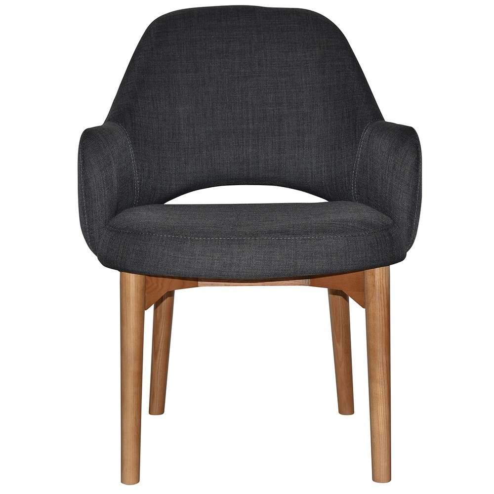 Albury Commercial Grade Fabric Tub Chair, Timber Leg, Charcoal / Light Oak