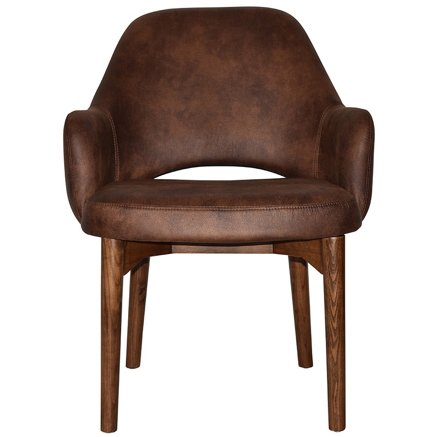 Albury Commercial Grade Fabric Tub Chair, Timber Leg, Bison / Light Walnut