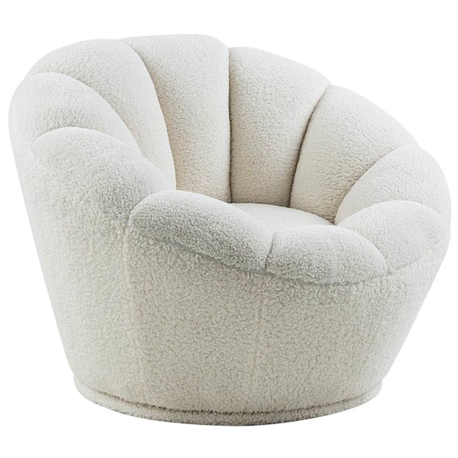 Chloe Faux Fleece Fabric Swivel Lounge Chair