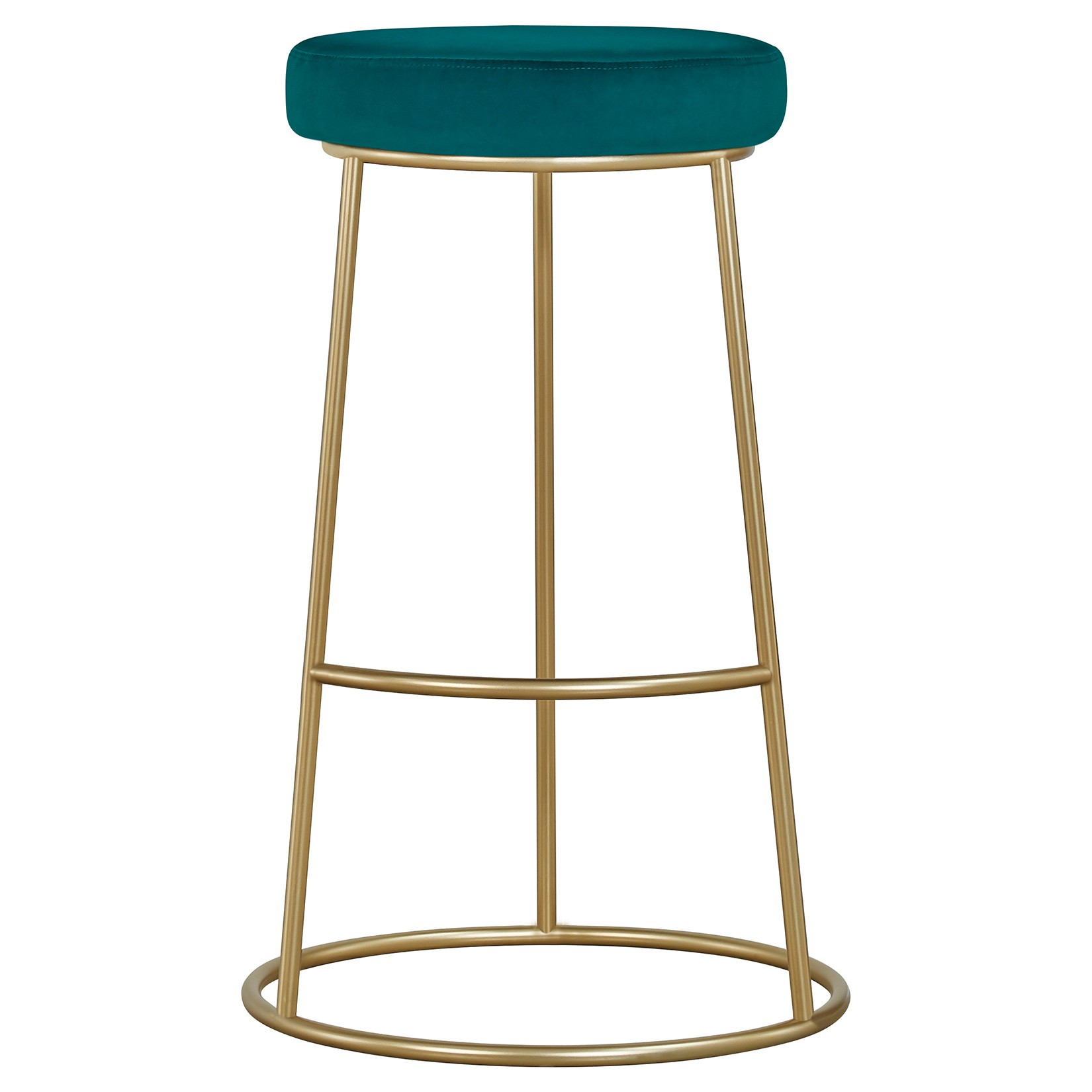 Xyla Metal Counter Stool, Teal Velvet Seat
