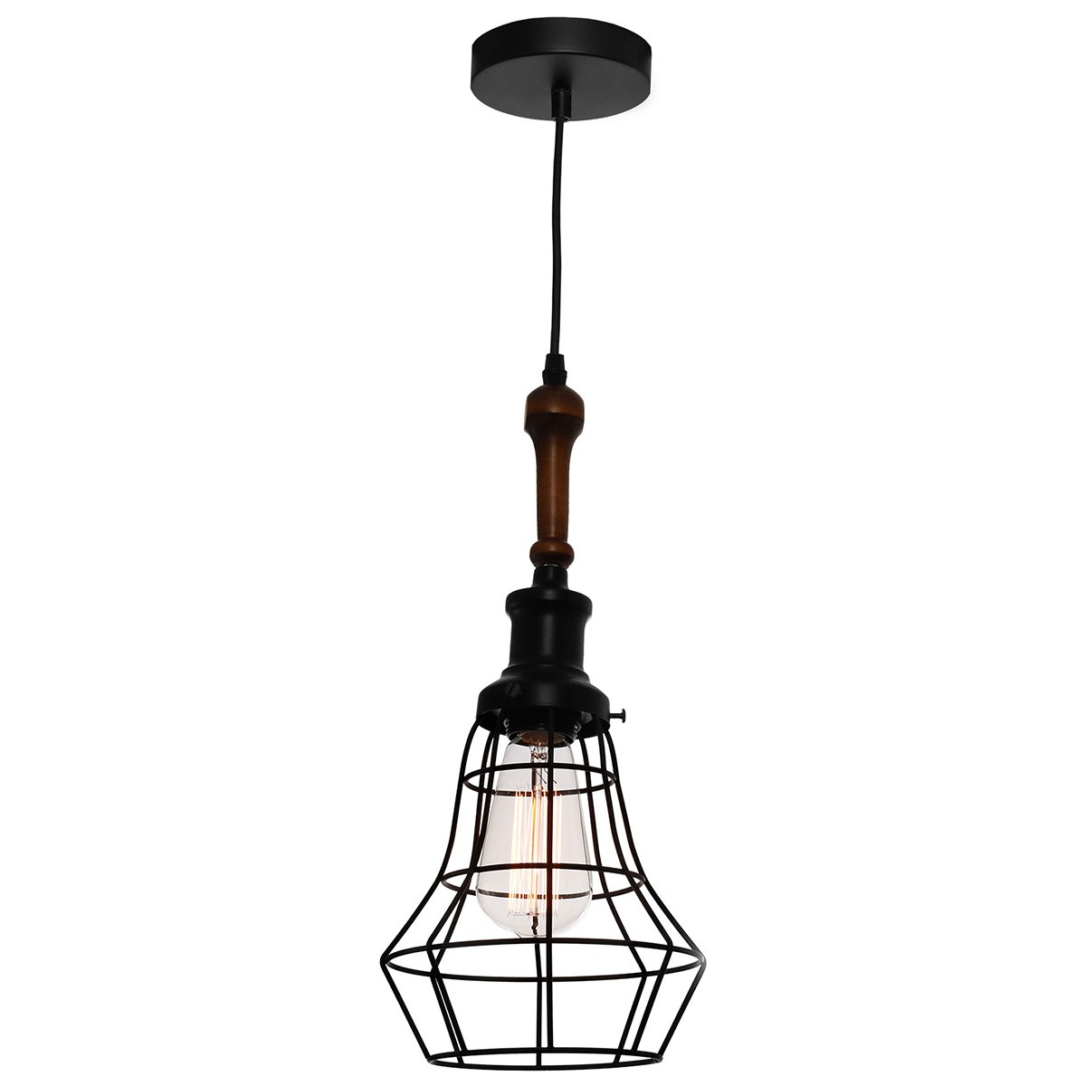 Lathe Metal Cage Pendant Light