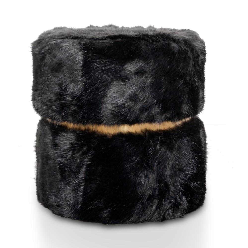 Borsta Faux Fur Round Ottoman Stool, Black