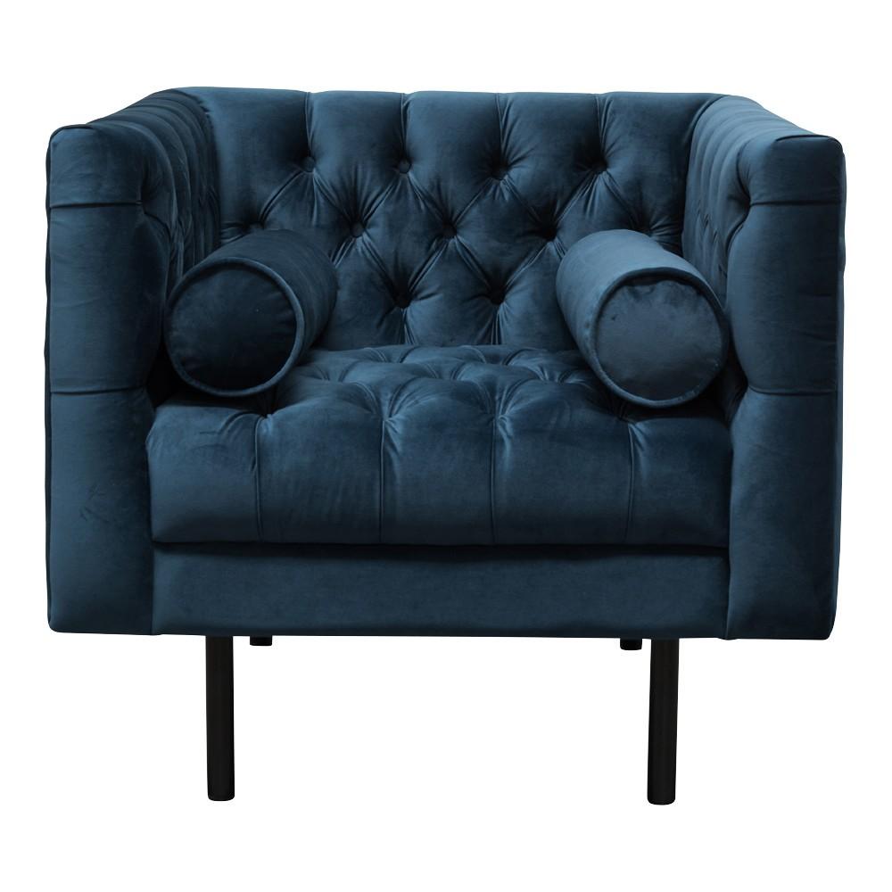 Brivio Velvet Fabric Armchair, Navy