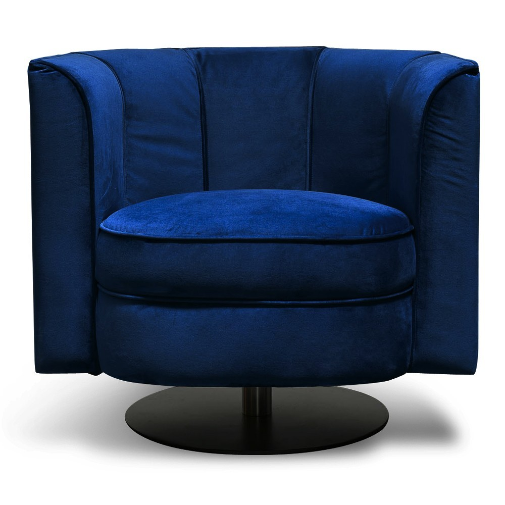Rivendell Velvet Fabric Swivel Armchair, Blue