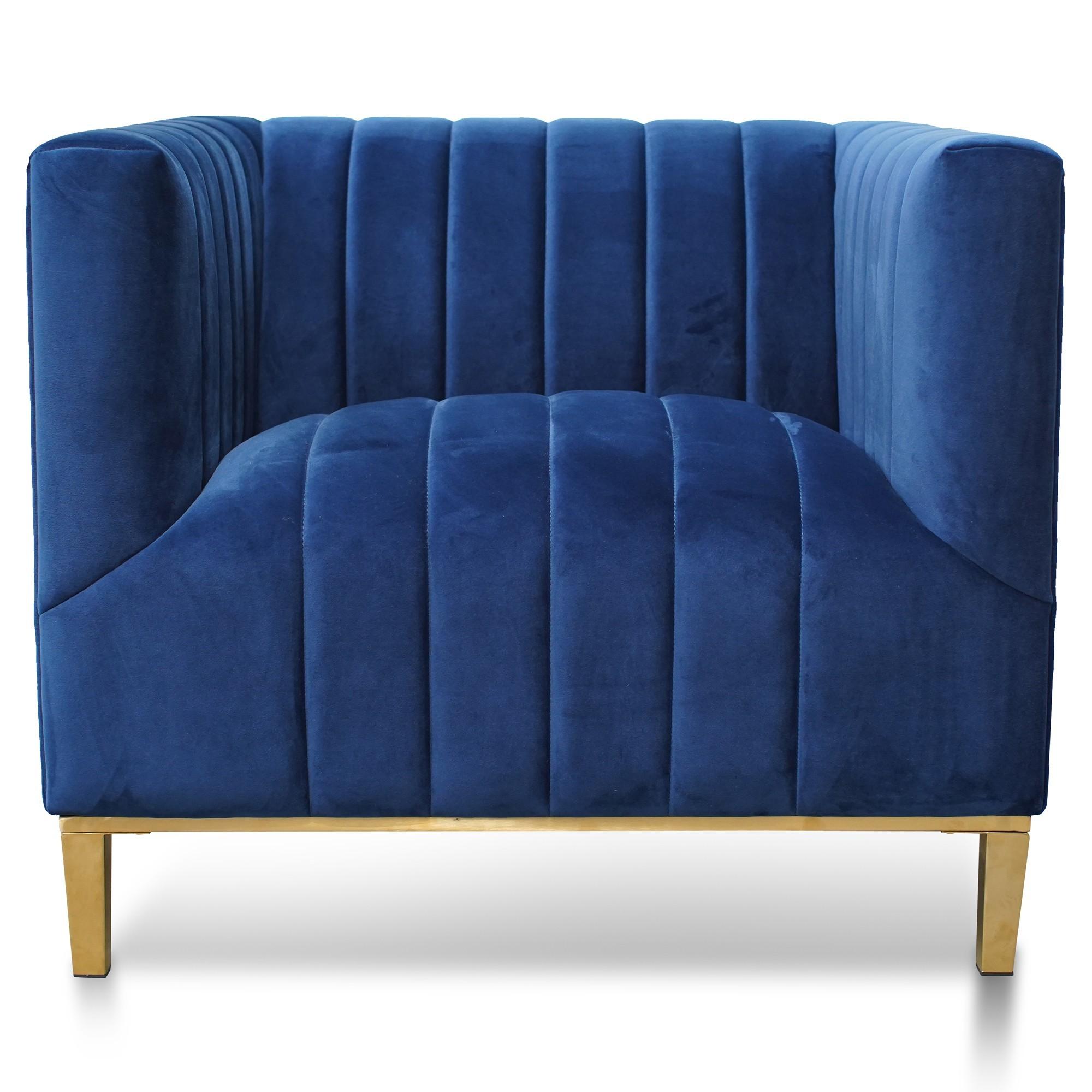 Tyler Velvet Fabric Armchair, Blue