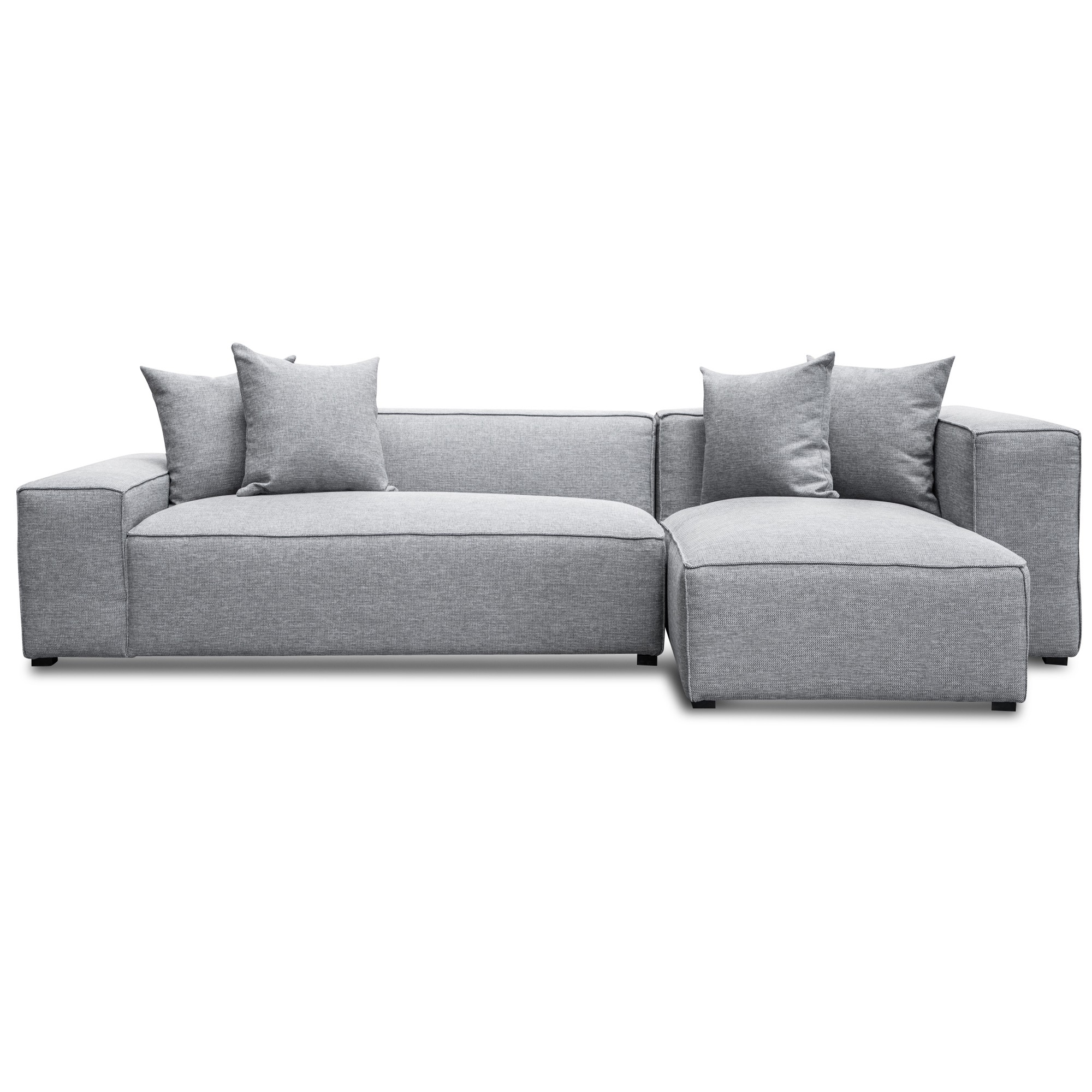 Ellis Fabric Modular Corner Sofa, 2 Seater with RHF Chaise, Coin Grey