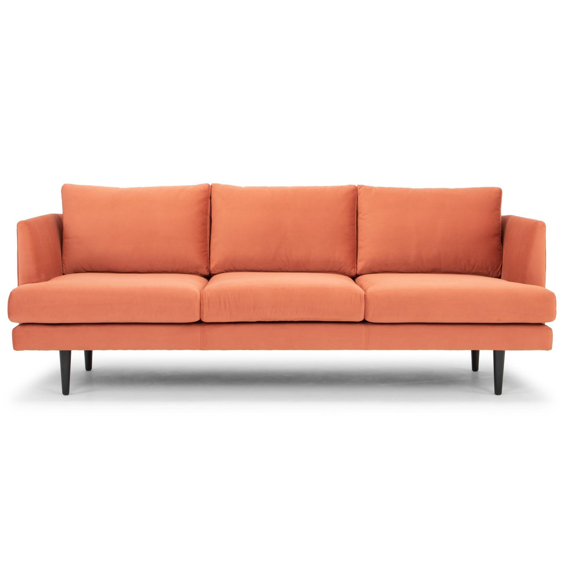 Mina Fabric Sofa, 3 Seater, Sunburnt Orange