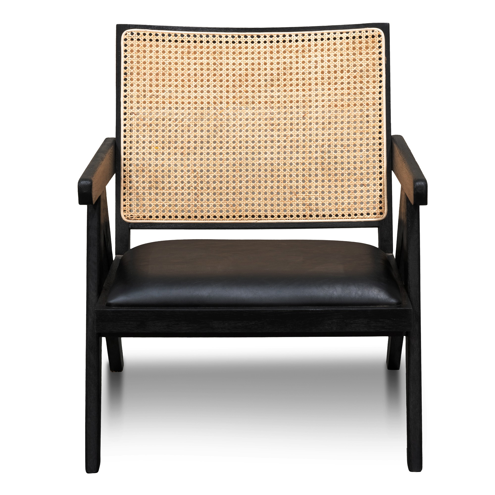 Cael Rattan & Timber Lounge Armchair, Black